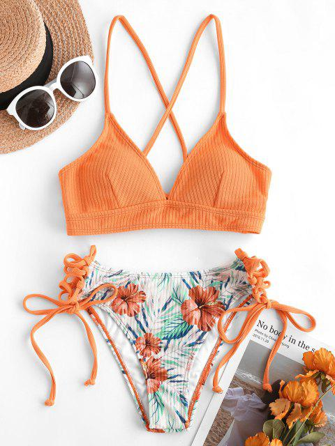 ZAFUL Strukturiertes Geripptes Bikini Badebekleidung mit Floralem Blatt - Orange S Mobile