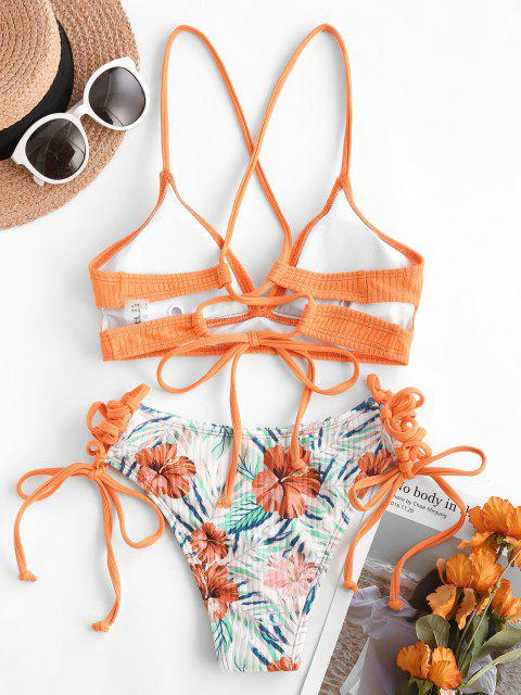 outfits ZAFUL Textured Ribbed Floral Leaf Lace-up Bikini Swimwear - ORANGE M Mobile