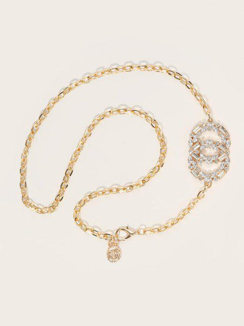 hot Shiny Round Shape Rhinestone Inlaid Waist Chain - GOLDEN  Mobile