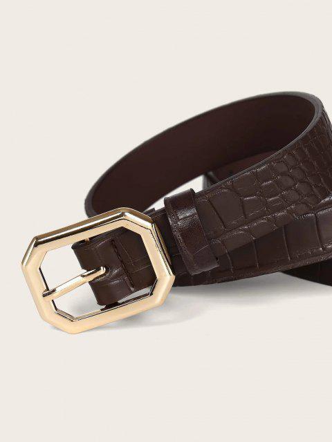 outfit 2Pcs Solid Animal Embossed Octagon Buckle Belt Set - GOLDEN  Mobile