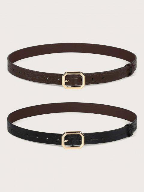 2Pcs Solid Animal Embossed Octagon Buckle Belt Set - ذهبي  Mobile