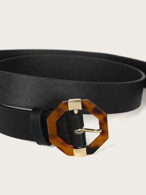 shops Geometric Pin Buckle Belt - BLACK  Mobile