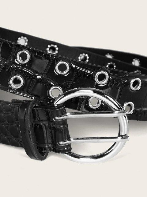 fashion Animal Embossed Double Row Grommet Buckle Belt - BLACK  Mobile