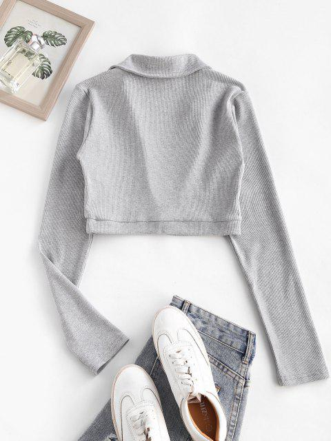 outfit Rib-knit Marled Long Sleeve Crop Top - GRAY M Mobile