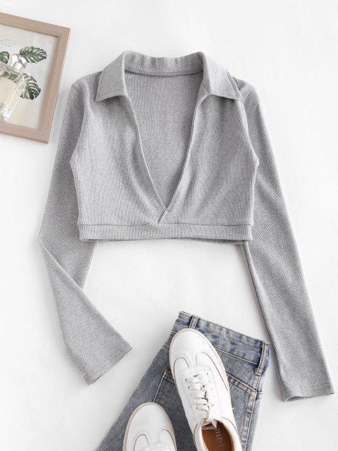 Rib-knit Marled Long Sleeve Crop Top - اللون الرمادي S Mobile
