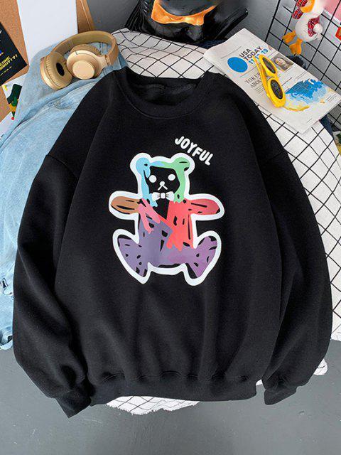 Moletom com Impressão de Urso de Desenhos Animados - Preto L Mobile