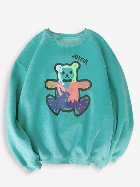 Sweat-shirt Ours Dessin Animé Imprimé à Ourlet Côtelé - Turquoise S Mobile