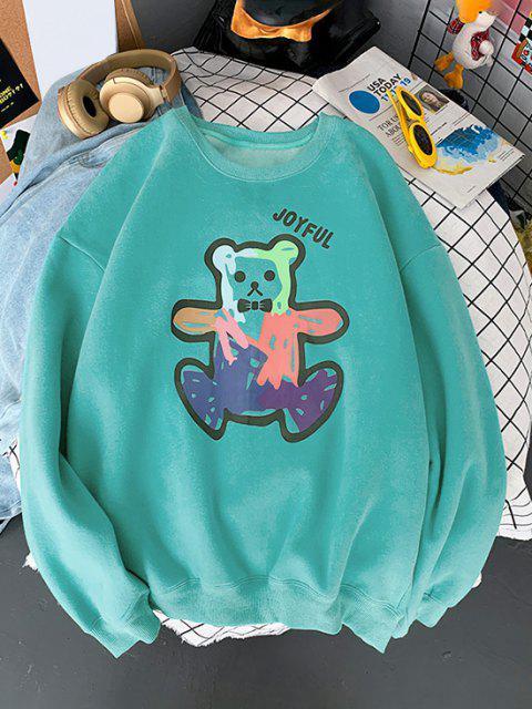 Sweat-shirt Ours Dessin Animé Imprimé à Ourlet Côtelé - Turquoise M Mobile