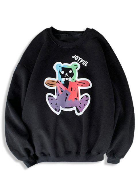 shops Cartoon Bear Print Rib-knit Trim Sweatshirt - BLACK XL Mobile