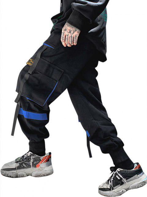 outfit Drawstring Applique Detail Contrast Cargo Pants - BLUE XS Mobile