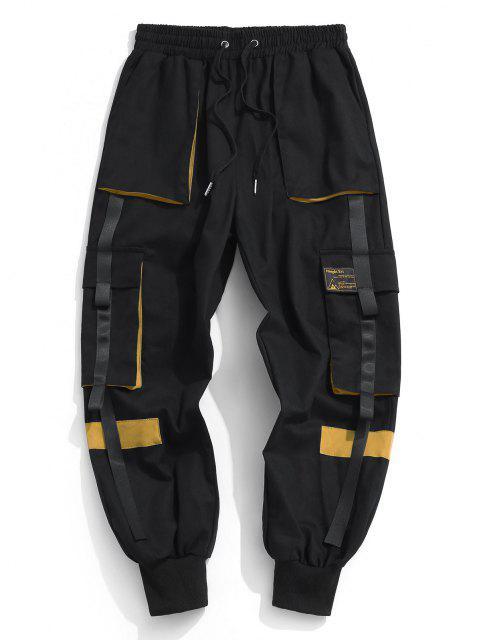 latest Drawstring Applique Detail Contrast Cargo Pants - YELLOW XS Mobile