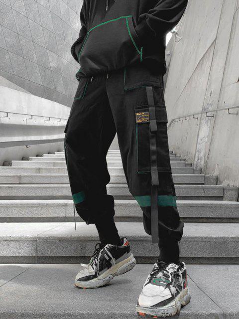 Pantalones de Carga con Detalle de Aplique de Contraste - Verde Oscuro XS Mobile