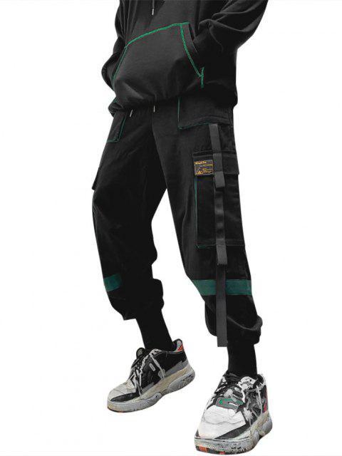 Pantalones de Carga con Detalle de Aplique de Contraste - Verde Oscuro L Mobile
