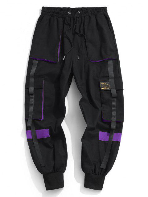buy Drawstring Applique Detail Contrast Cargo Pants - PURPLE XS Mobile