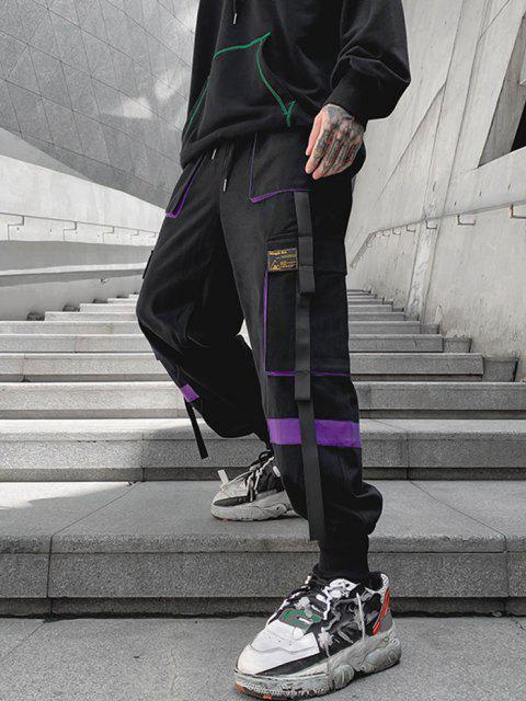 women Drawstring Applique Detail Contrast Cargo Pants - PURPLE M Mobile