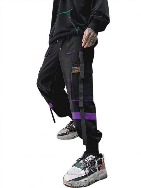 Pantalones de Carga con Detalle de Aplique de Contraste - Púrpura M Mobile