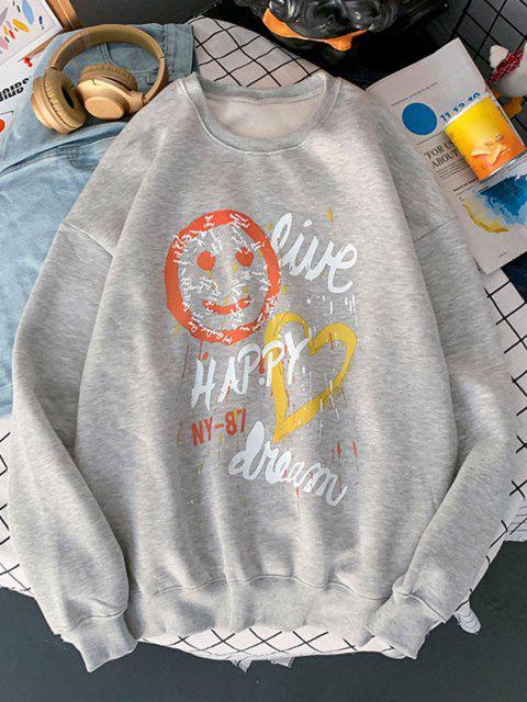 trendy Face Heart Letter Print Graphic Sweatshirt - LIGHT GRAY M Mobile