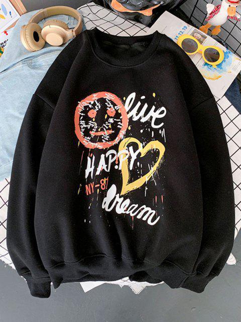 Sweat-shirt à Imprimé Lettre et Coeur - Noir S Mobile