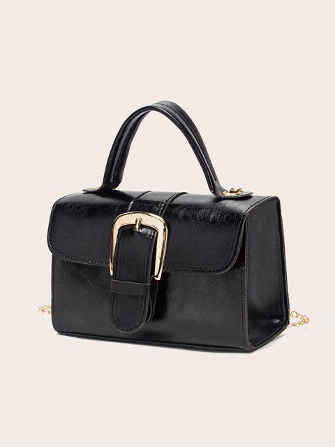latest Retro Chain Buckle Crossbody Bag - BLACK  Mobile