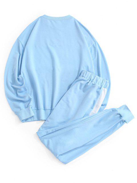 Ensemble de Sweat-shirt Court Côtelé en Blocs de Couleurs et de Pantalon Deux Pièces - Bleu clair M Mobile