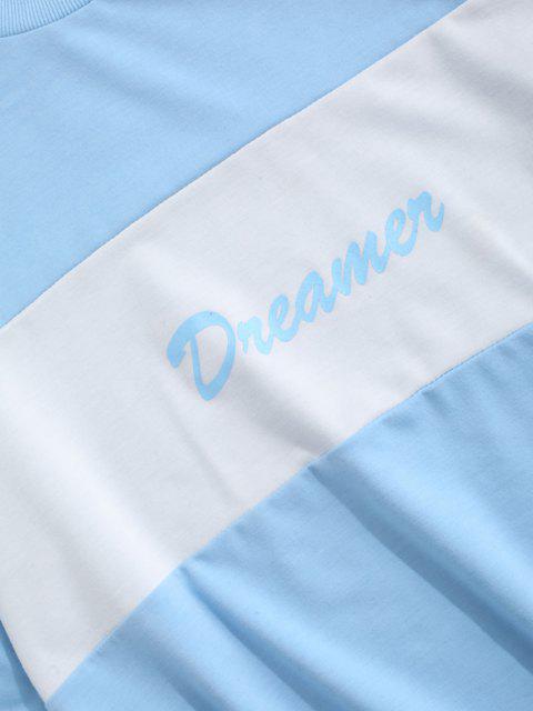 shop Dreamer Colorblock Sweatshirt And Pants Two Piece Set - LIGHT BLUE S Mobile