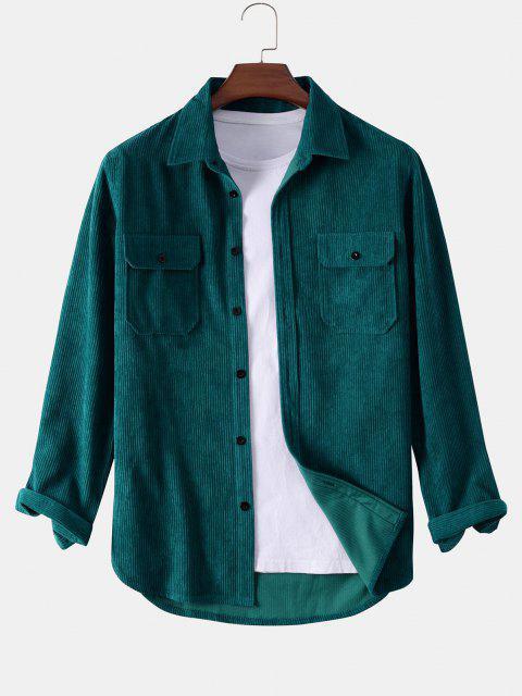 women Button Up Double Pockets Corduroy Shirt - DEEP GREEN 2XL Mobile