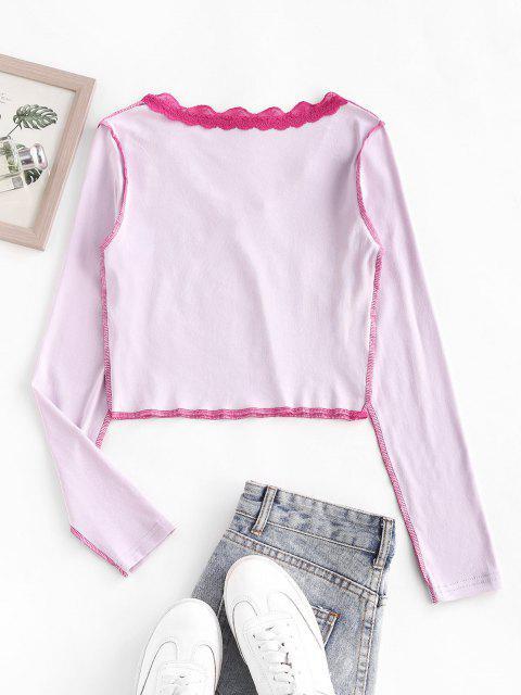 T-shirt A Manches Longues avec Dentelle Inséré - Rose clair S Mobile
