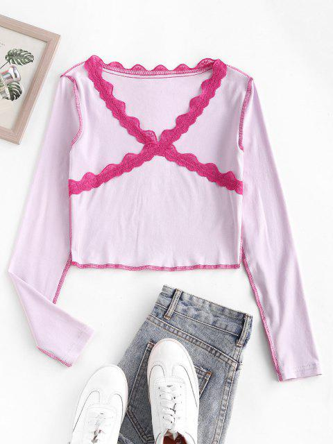 womens Lace Panel Topstitching Long Sleeve Baby Tee - LIGHT PINK M Mobile