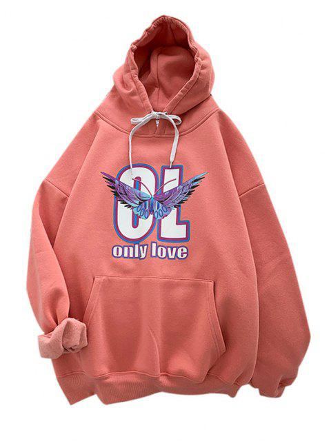 fashion Letter Butterfly Print Front Pocket Graphic Hoodie - RED XL Mobile