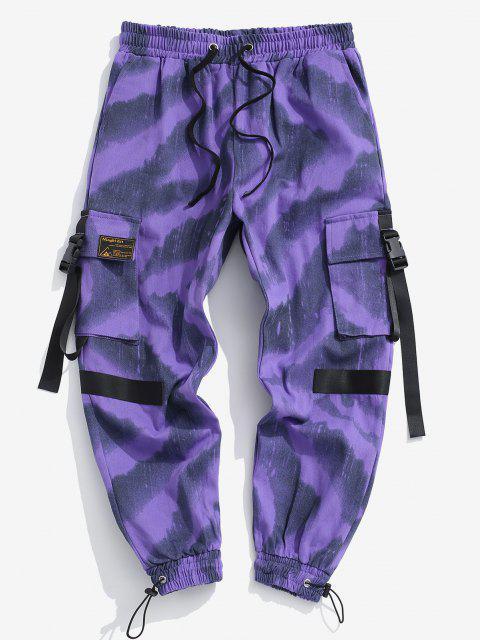 Pantalones de Carga con Estampado de Tie Dye con Cordón - Púrpura XS Mobile