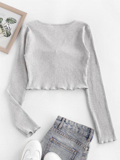 Camisola de Alface Guarnição do Bebê com Buraco da Fechadura - Cinza claro S Mobile
