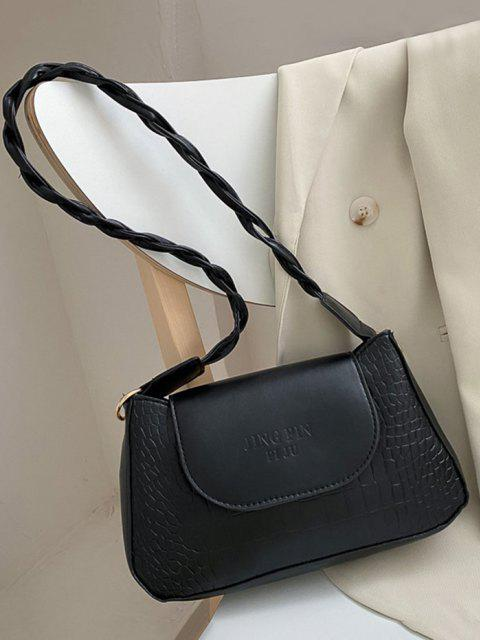 chic Embossed Letter Twist Strap Shoulder Bag - BLACK  Mobile