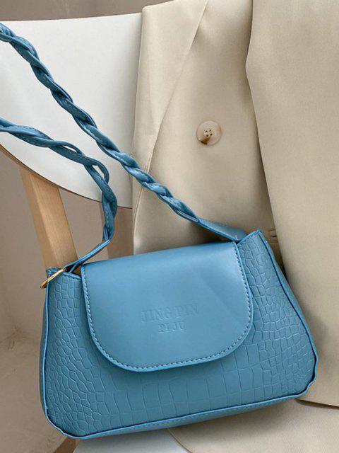Bolso Al Hombro Textura Letras - Azul Denim  Mobile