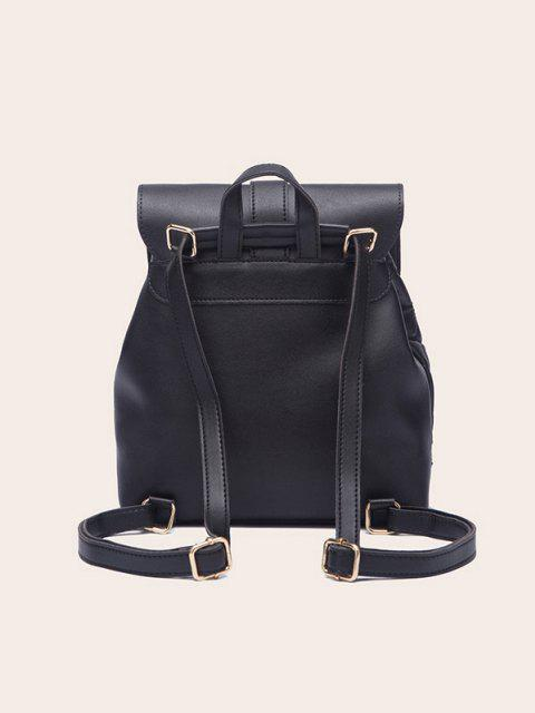 chic Tassel Quilted Solid Backpack - BLACK  Mobile