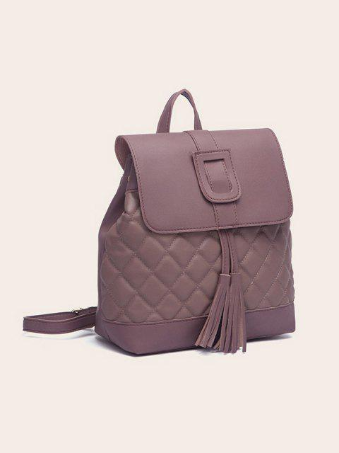unique Tassel Quilted Solid Backpack - DULL PURPLE  Mobile