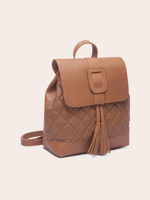 sale Tassel Quilted Solid Backpack - LIGHT BROWN  Mobile