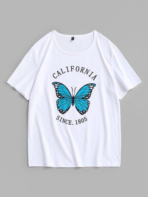 Maglietta con Stampa a Farfalla California 1987 e Maniche Corte - Bianca XL Mobile