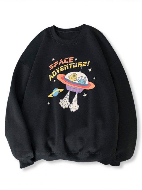 online Cartoon UFO Print Graphic Sweatshirt - BLACK M Mobile
