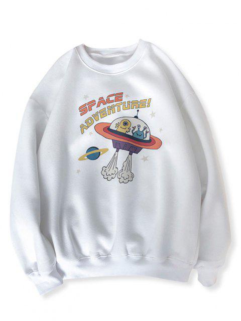 Sweat-shirt UFO Graphique Imprimé Dessin Animé - Blanc XL Mobile