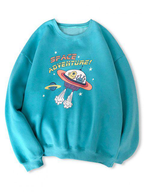 shops Cartoon UFO Print Graphic Sweatshirt - BLUE HOSTA L Mobile