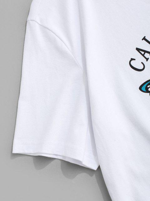 Camiseta con Estampado de Mariposa California con Mangas Cortas - Blanco S Mobile