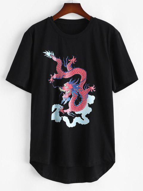 hot Short Sleeve Dragon Clouds Print T-shirt - BLACK L Mobile