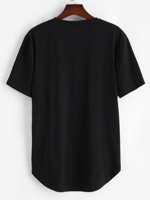lady Short Sleeve Dragon Clouds Print T-shirt - BLACK S Mobile