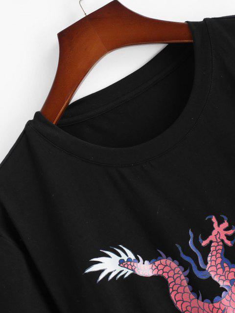 T-Shirt a Maniche Corte con Stampa Drago - Nero M Mobile