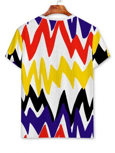 Camiseta de Mangas Cortas con Estampado de Chevron de Contraste - Blanco 3XL Mobile