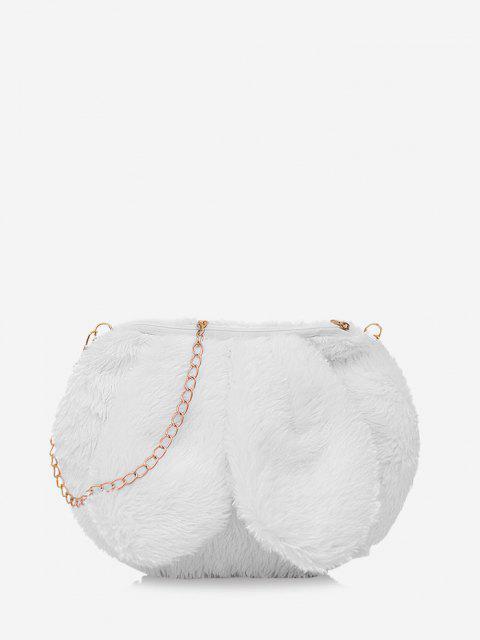 Sac à Bandoulière Chaîne Fourré Oreille de Lapin Design - Blanc Lait  Mobile