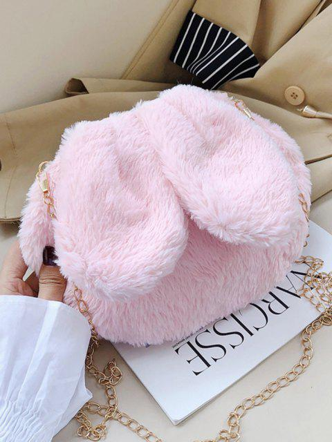 Rabbit Ear Design Fluffy Chain Crossbody Ba - خنزير وردي  Mobile