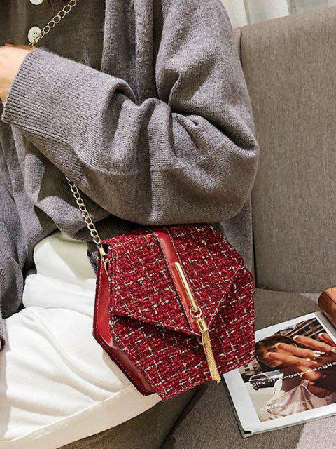 hot Tweed Metallic Fringe Plaid Pattern Chain Flap Crossbody Bag - RED WINE  Mobile