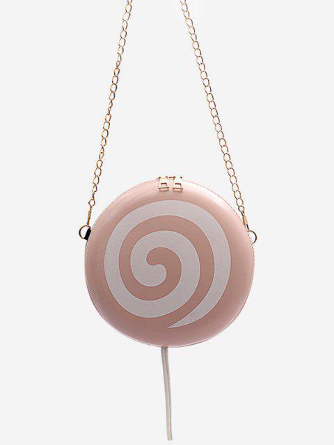 trendy Lollipop Shape Chain Mini Round Crossbody Bag - PIG PINK  Mobile