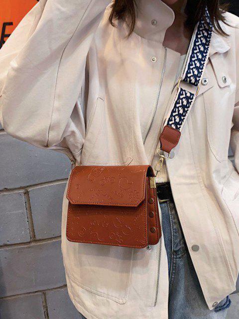 fancy Cartoon Embossed Wide Strap Crossbody Bag - BROWN  Mobile